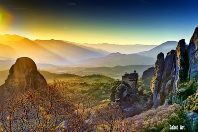Monastery of Meteora by Sunset.