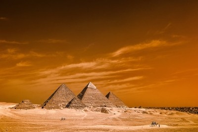 The great Pyramid's of Giza  by Infrared Photogrphy.