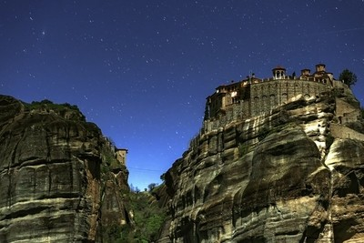 Monastery of Meteora by Night.