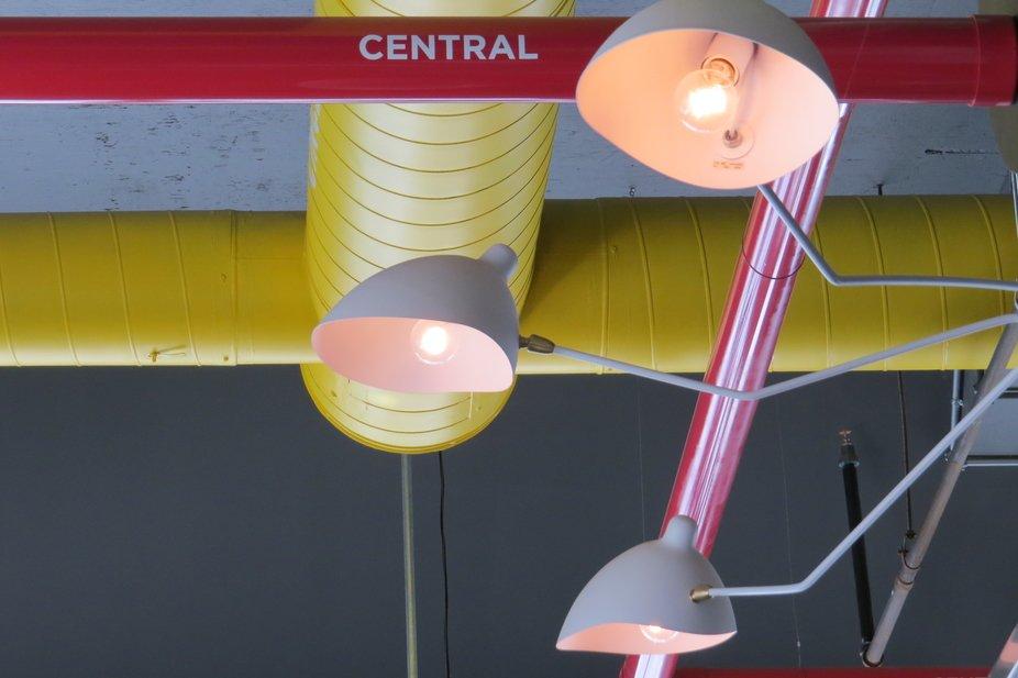 Three lights at the Firkin on Bay Street in Toronto, Ontario, Canada.