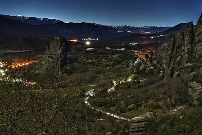 Monastery of Meteora in Greece by Night.