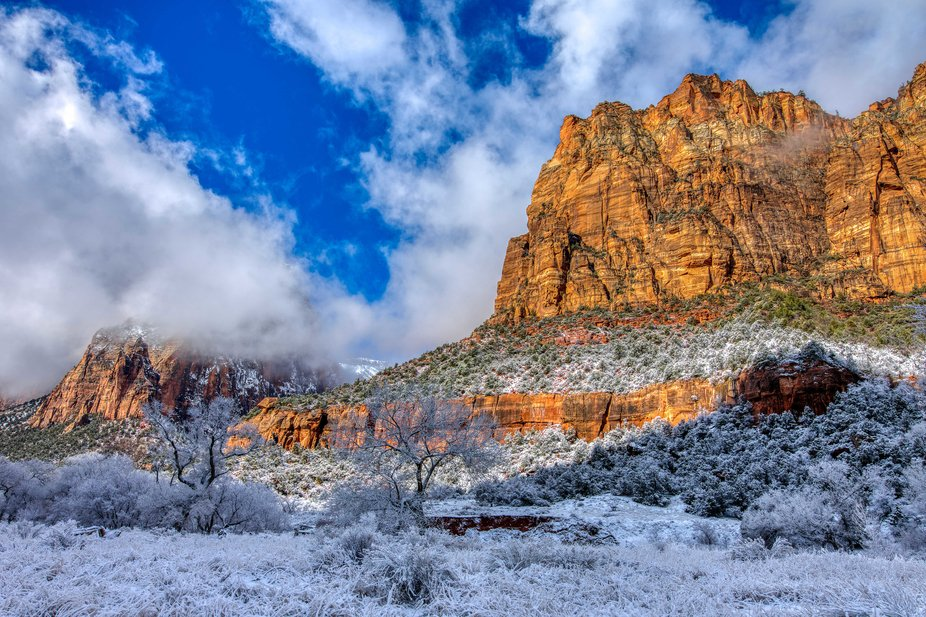 On of the Three Patriarchs covered in fresh snow in Zion National Park