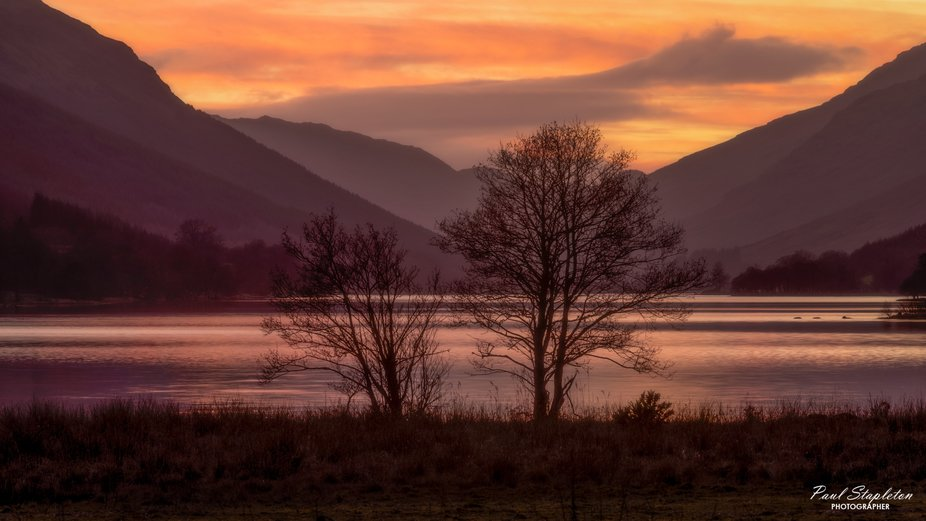 Loch Voil Twin Trees Sunset