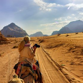 Camelride in the Desert of Wadi Rum in Jordan.