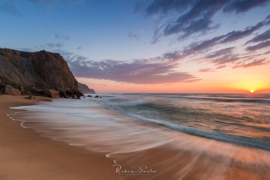 Last sunset of winter time.  Long exposure at the beach.  Santa Cruz - Portugal