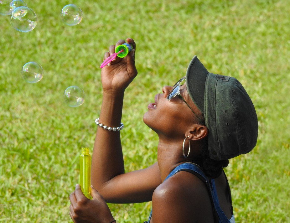 A beautiful bubble blower at a local Classic Rock Concert in Miami.
