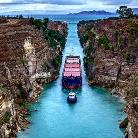 The Corinth Canal connects the Gulf of Corinth with the Saronic Gulf in the Aegean Sea.