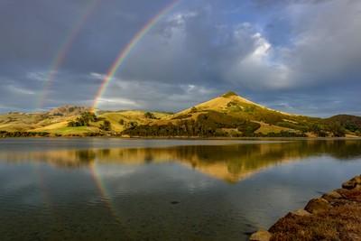 Double rainbow over the Otago Peninsula