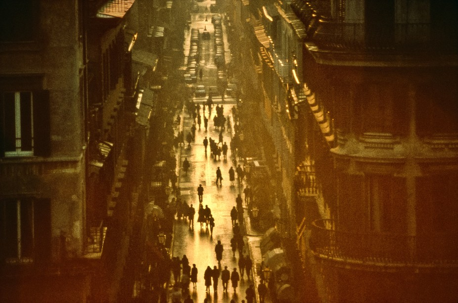 Image taken from a park above the Spanish Steps in Rome, Italy. Sun was beginning to set and the ...