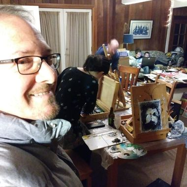 Steve Vosen, in Berkeley, CA during one of our regular Art Night!. He has since gone on to show and sell his art and photigraphy.