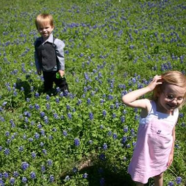 "one of my all time favorites, I took this way back when I thought the band I was in was going places. this has always been my ""album cover"" pic just in case. my middle son with a friend in central TX during the spring bloom"
