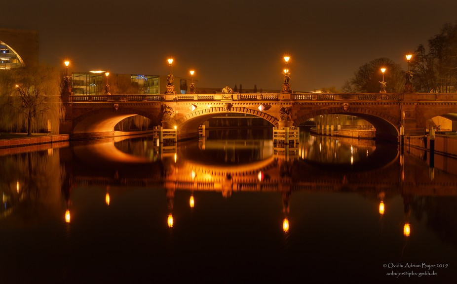 Lights and reflections in water. long exposure photography, Berliner architecture