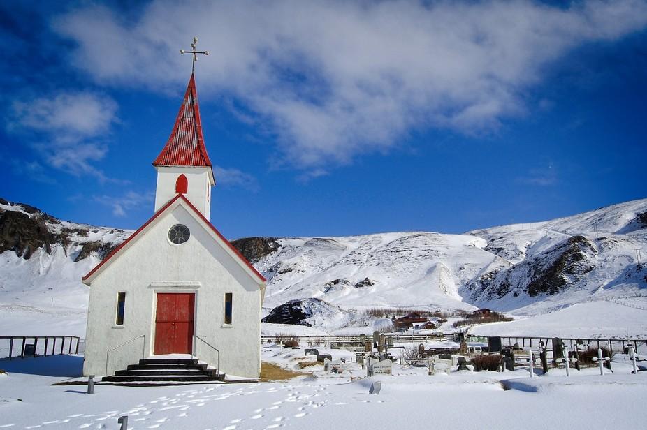 Small church and graveyard near Reynisfjara Beach in Iceland.