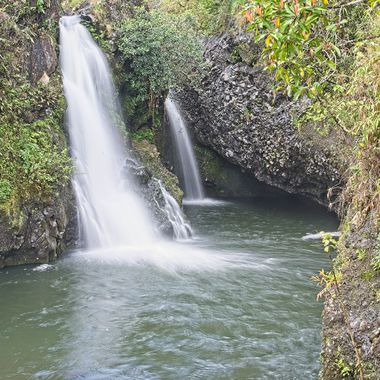 One of a group of waterfalls along the llength of the Hana highway in Hawaii