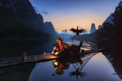 Cormorant fishermen at dawn