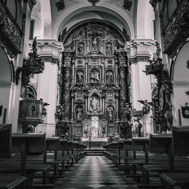 a beautiful black and white shot taken inside a church in Cadiz, Spain