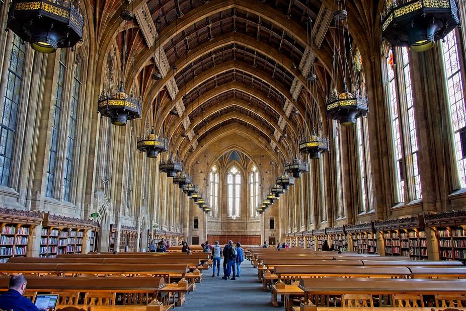 The beautiful Sazzallo Library on the University of Washington campus.
