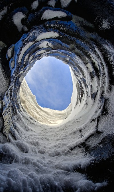 Top Vent in Ice Cave on Iceland
