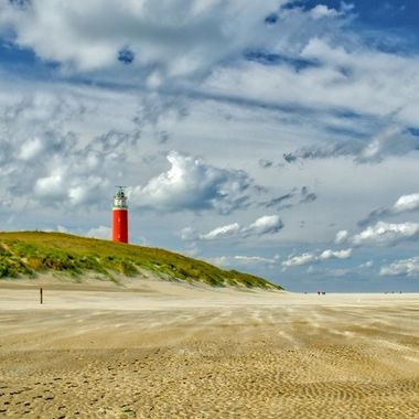 Lighthouse at Texel, Holland on a windy bright day sept 2018
