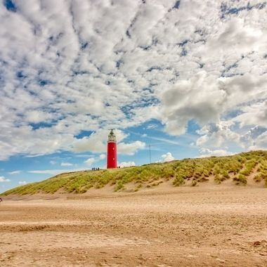 Lighthouse at Texel, Holland,with beautiful clouds formation