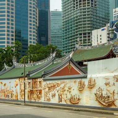 History of Singapore on the wall of the Chinese temple inChinatown, Singapore