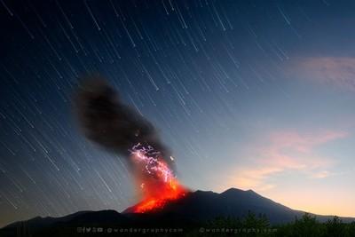 Cosmic Time - Eruption of Sakurajima Volcano in Japan