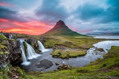Sunset over Kirkjufell in Iceland