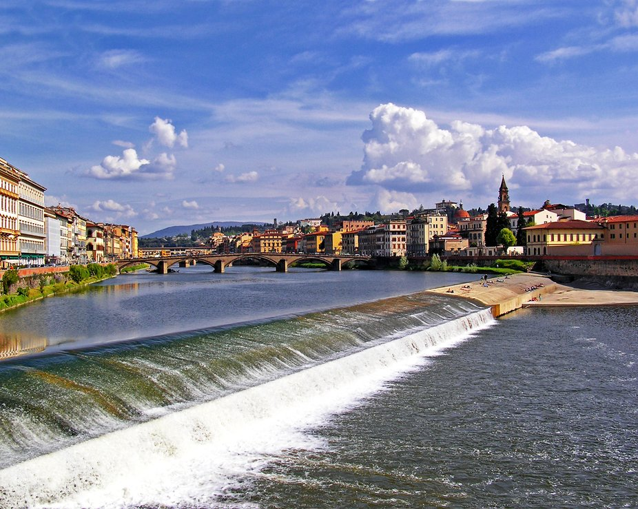 I was standing on the Ponte Amerigo Veapucci bridge in Florence Italy looking east when I gathere...