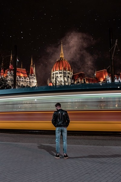 Catching the tram in Budapest