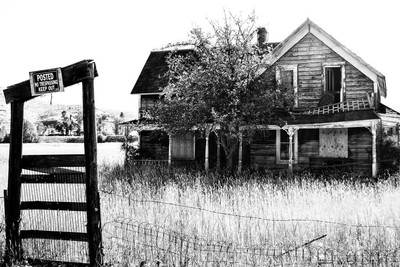 Falling Apart in Hamilton Montana in black and white