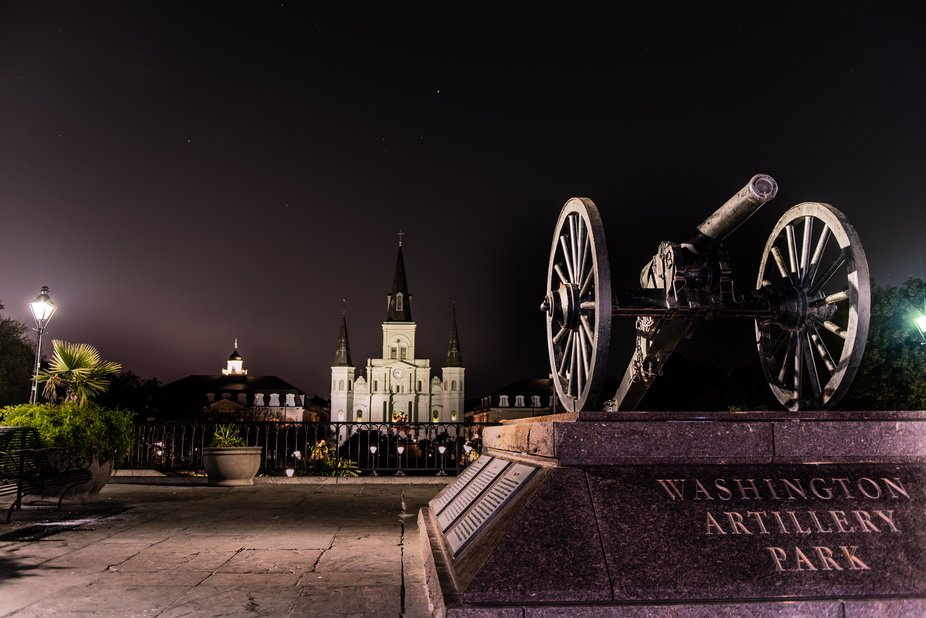 This is The site of the old Washington artillery overlooking the St. Louis Cathedral in New Orleans