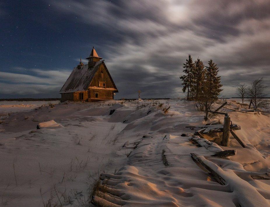 Kemsky district, Republic of Karelia, Russia , Rabocheostrovsk. White sea coast. The night before...