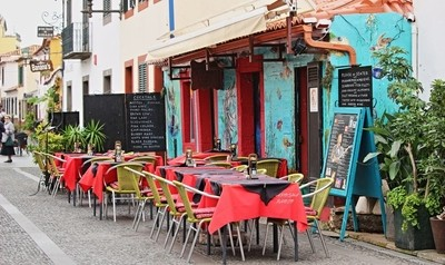Outdoor restaurant on the old area from Funchal Funchal