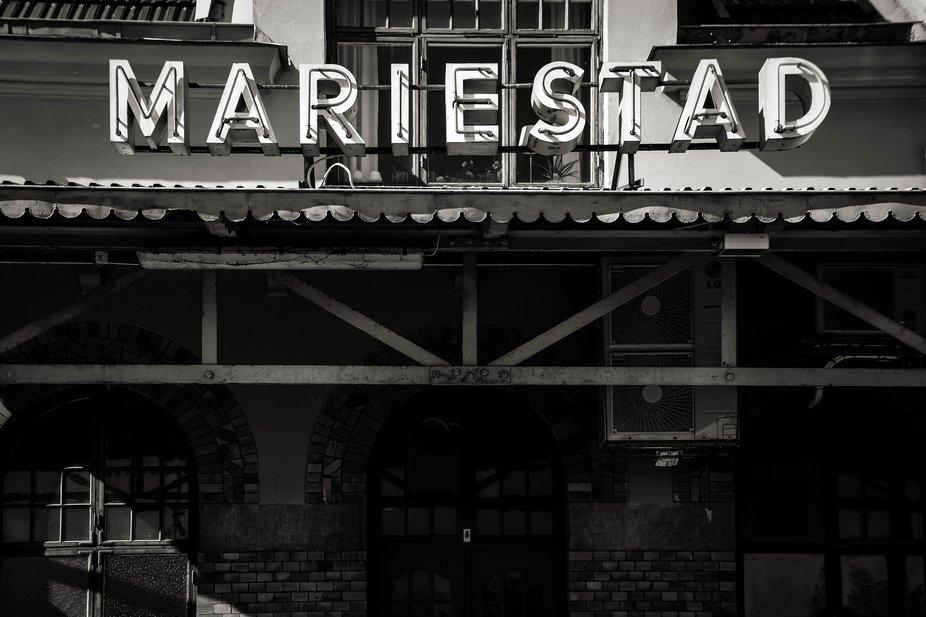Mariestad train station sign