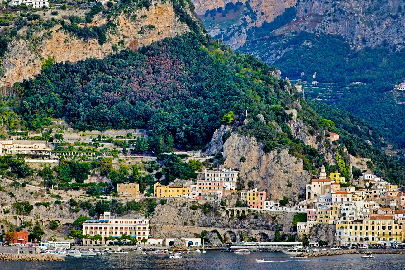 Shipboard view of the waterfront at Amalfi, italy