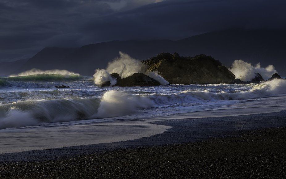 The raging Pacific Ocean just north of Port Orford, Oregon. I was mesmerized by the water crashin...