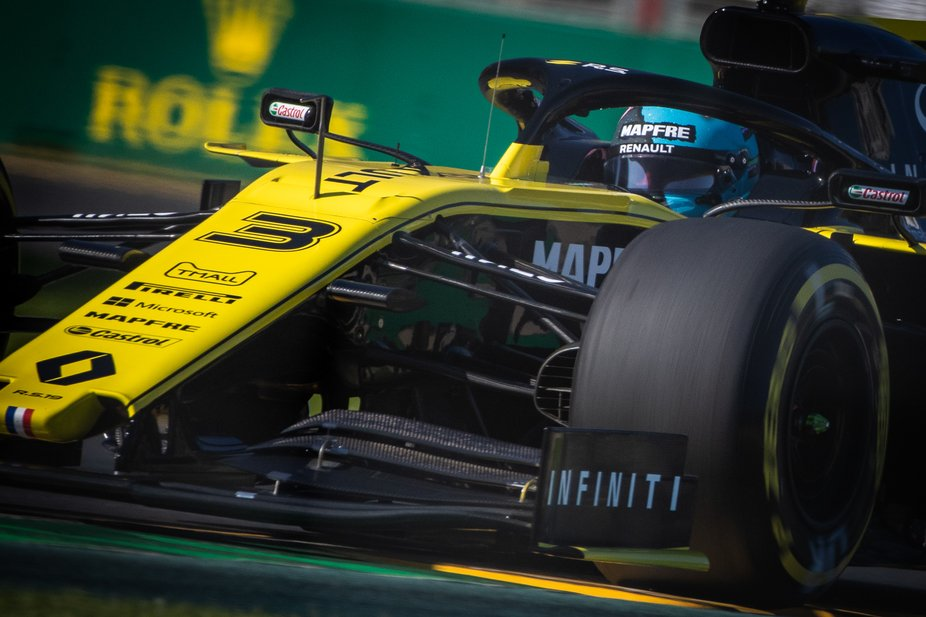 Daniel Ricciardo exiting turn 13 in his Renault RS19 at the 2019 Australian Grand Prix