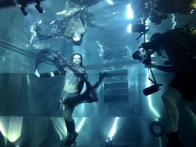 Backstage of underwater fashion