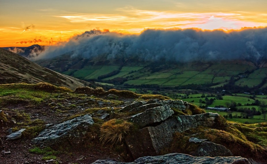 Sunrise from the Nab above Edale in the Peak District.