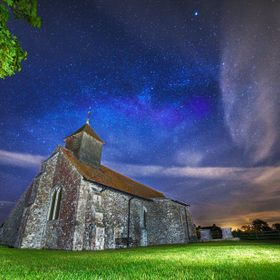 A two shot composition of a local church built in the 1400's and the milky way. 