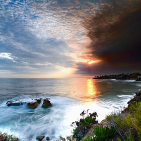 """Earth, Fire, Water,&  Air."" Smoke from the 2018 ""Holy Fire"" in Southern California blowing offshore over Laguna Beach at sunset"