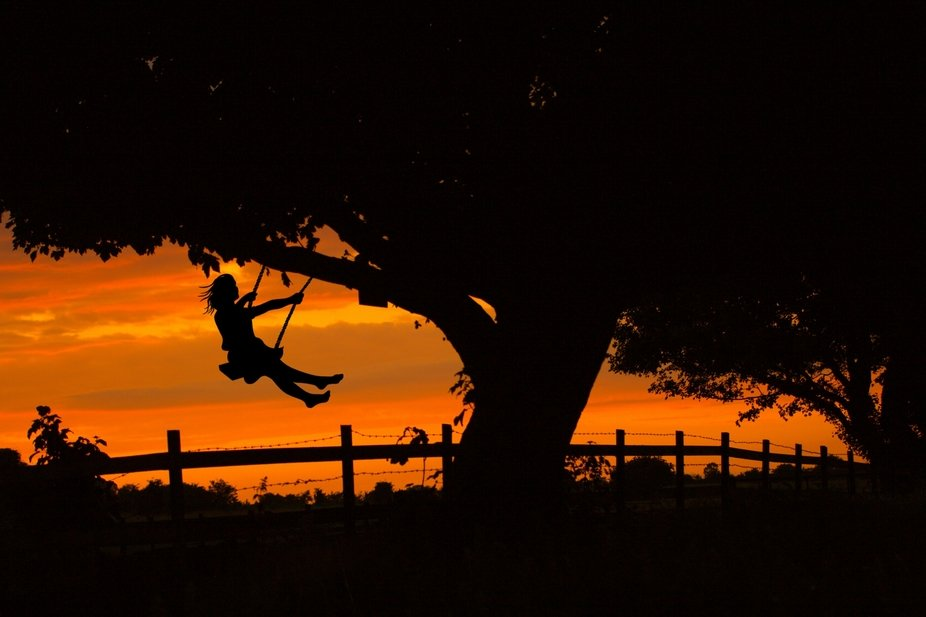 Swinging on a tree swing at dusk .