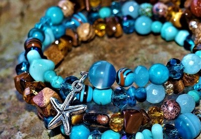 Turquoise and Brown Gemstone Bangle