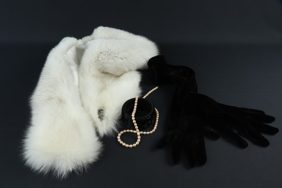 Women's accessories. The Cape of natural fur of the Finnish Arctic Fox on a silk lining ...