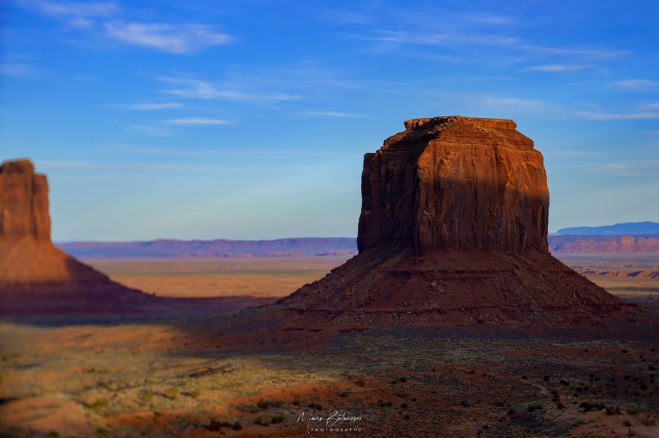 A different photo of the Monument Valley using a perspective control.