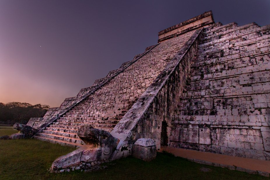 The pyramid at Chichen Itza during sunrise.