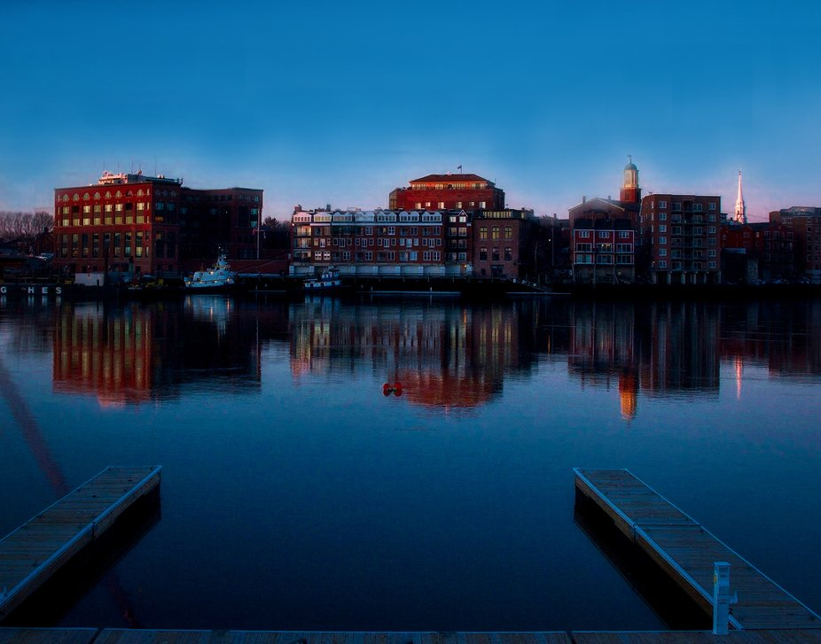 The quaint New England town of Portsmouth, NH, looks magical in the blue light just before dawn. ...