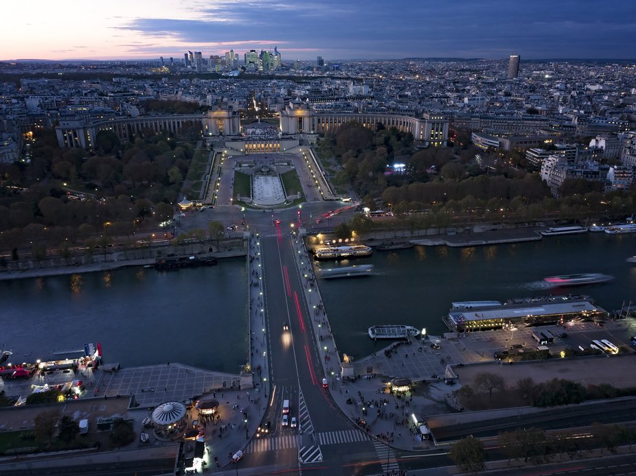 View over Paris from top of Eiffel Tower at sundown