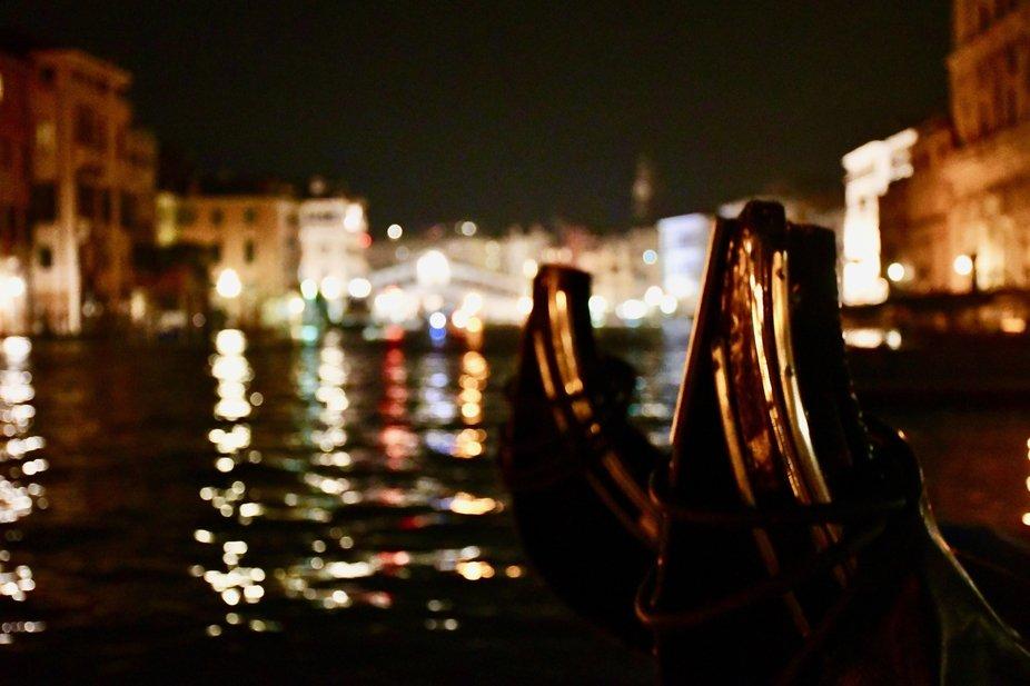 Two Gondolas and the Rialto Bridge at night