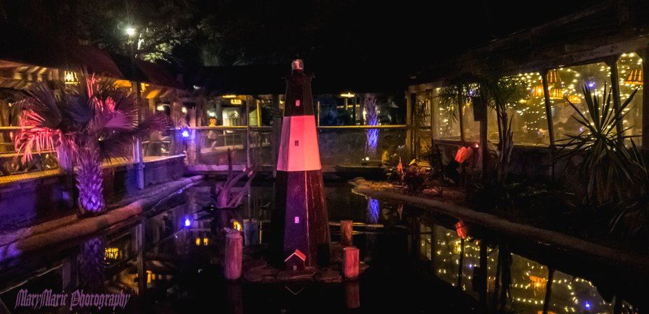 Restraunt in Tybee Island with an alligator pond out front.